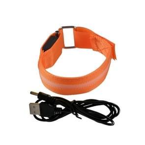 Orange Nylon Night Sports LED Light Armband Light Bracelet, Specification:USB Charging Version
