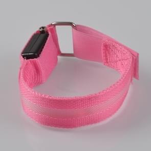 Pink Nylon Night Sports LED Light Armband Light Bracelet, Specification:Battery Version