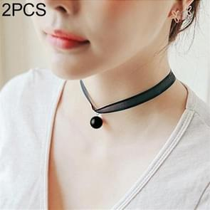 2 PCS Women Clavicle Choker Neckband Neck Chain Short Necklace Jewelry(Black Pearl Pendant)