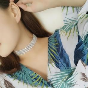 Bruiloft volledige Crystal Strass choker ketting voor vrouwen (zilver 2.5 cm)