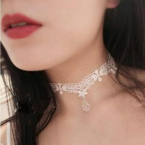 2PCS Fashion Lace Elegant Water Droplets Choker Necklace For Women(White)