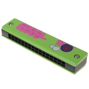 Houten 16-holes Double-Row mond harmonica voor beginners  kleur: Green Snail