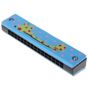 Houten 16-holes Double-Row mond harmonica voor beginners  kleur: Blue Giraffe