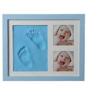 Baby Hand Foot Print Mold Maker Solid Wooden Photo Frame With Cover Fingerprint Mud Set(Blue)