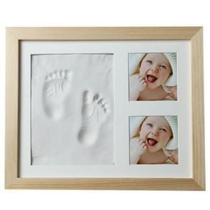 Baby Hand Foot Print Mold Maker Solid Wooden Photo Frame With Cover Fingerprint Mud Set(White)