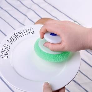 Fashion ronde handvat borstel mesh schoonmaken Tools keuken dagelijkse levensbehoeften creatieve decontaminatie artifact(Random Color)