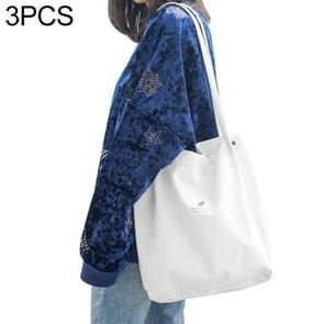 3 PCS High Capacity Women Corduroy Tote Ladies Casual Shoulder Bag Foldable Reusable Shopping Beach Bag(White)