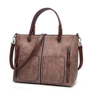 Vintage Shoulder Bag Female Causal Totes for Daily Shopping(light pink)