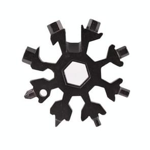 18-in-1 Multi-tool Portable Outdoor Octagonal Snowflake EDC Tool Wrench Mini Screwdriver(Black)