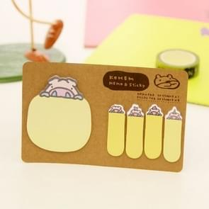 Cute Animal Stationery Memo Paper Sticker Bookmark, Size: 14 x 9cm(Yellow)
