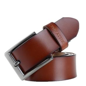 COWATHER XF002 Men Genuine Leather Luxury Business Casual Pin Buckle Belt, Belt Length:105cm(XF002 Brown)
