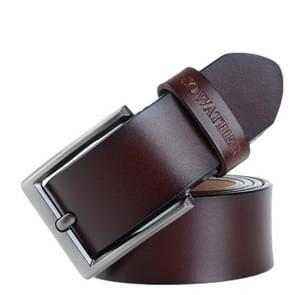 COWATHER XF002 Men Genuine Leather Luxury Business Casual Pin Buckle Belt, Belt Length:130cm(XF002 Coffee)
