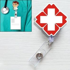 Cross Medical Mark Pattern Cute Retractable Badge Reel Student Nurse ID Name Card Badge