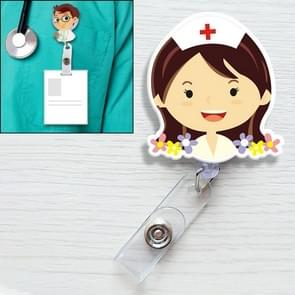 Flower Nurse Pattern Cute Retractable Badge Reel Student Nurse ID Name Card Badge