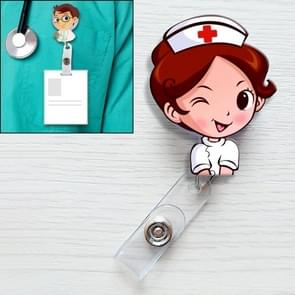 Brown Hair Nurse Pattern Cute Retractable Badge Reel Student Nurse ID Name Card Badge