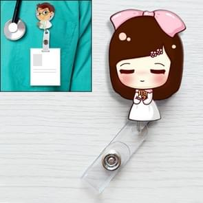 Shy Girl Pattern Cute Retractable Badge Reel Student Nurse ID Name Card Badge