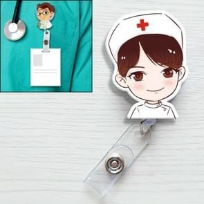 Big Eye Nurse Pattern Cute Retractable Badge Reel Student Nurse ID Name Card Badge