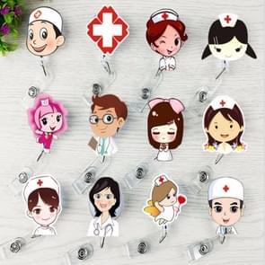 Doctor Head Pattern Cute Retractable Badge Reel Student Nurse ID Name Card Badge