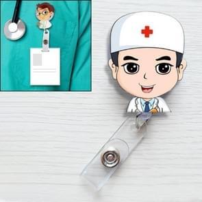 Male Doctor Pattern Cute Retractable Badge Reel Student Nurse ID Name Card Badge