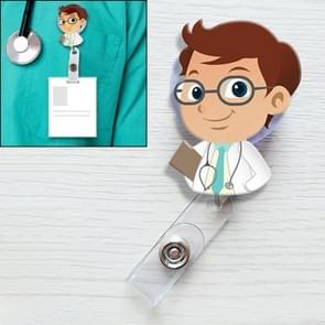 A Doctor in Spectacles Pattern Cute Retractable Badge Reel Student Nurse ID Name Card Badge