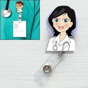 Female Doctor Pattern Cute Retractable Badge Reel Student Nurse ID Name Card Badge