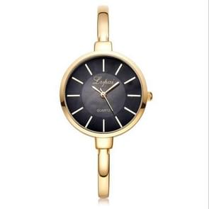 Lvpai P170 Simple Round Dial Alloy Compact Strap Quartz Watch for Women(Gold Black)