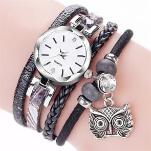 2 PCS Ladies Small Dial Circle Owl Pendant Bracelet Watch(Black)