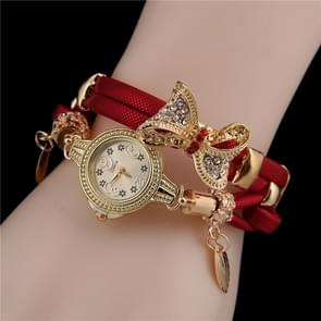 Ladies Bow Leaves Pendant Diamond Bracelet Quartz Watch(Red)