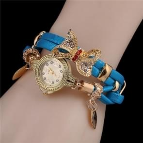Ladies Bow Leaves Pendant Diamond Bracelet Quartz Watch(Blue)