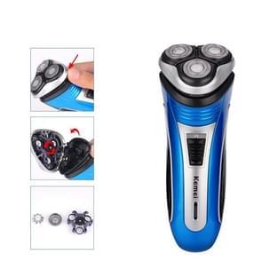 Rechargeable Electric 3D Triple Floating Blade Heads Shaving Razors Men Beard Trimmer Machine(Blue)