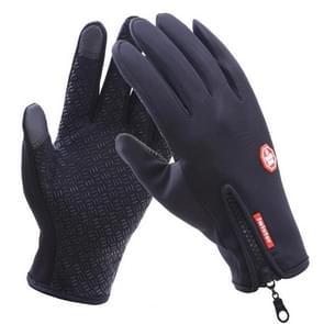 Fietsen handschoenen volledige vinger neopreen PU ademend leer warme Winter buiten sport handschoenen  Size:L(Black)