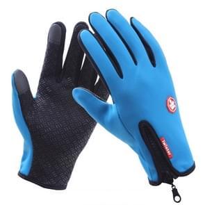 Fietshandschoenen Full Finger Neopreen PU ademend leer warme winter outdoor sporthandschoenen (blauw)