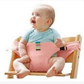 3PCS Chair Portable Seat Dining Lunch Chair Seat Safety Belt Stretch Wrap Feeding Chair Harness Seat Booster(Pink)