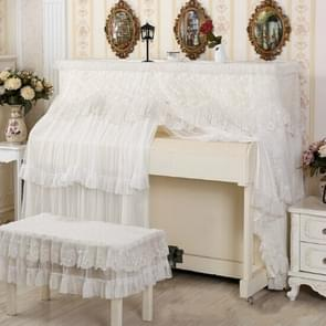 Lace Embroidered Piano Full Dust Cover, Size: 153x33x120  Double Seats(White)