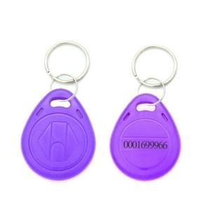 10 stuks 125KHz TK/EM4100 proximity ID kaart Chip Sleutelhanger sleutel ring (paars)