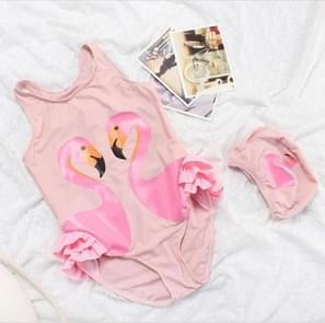 Swan Flamingo Girls Swimwear with Swimming Cap, Size:XL (4-5years)(Pink Flamingo)
