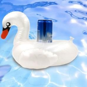 Patroon Witte Swan Vorm verdikte milieuvriendelijke PVC Opblaasbare Coasters Drijvende Water Drink Cup Holder  Grootte:30 x 30 x 18cm