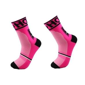 Man Cycling Sport Sock Protect Feet Breathable Wicking Cycling socks Bicycles Running Socks, Size:L(Pink)