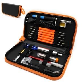 60W Adjustable Temperature Electric Soldering Iron Kit + 5 PCS Tips Portable Welding Repair Tool Tweezers Hobby knife(Orange)