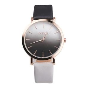 OKTIME WOK13402 2 PCS Retro Gradient Color Design Leather Belt Quartz Watch for Men / Women(The rose gold shell is black and white)