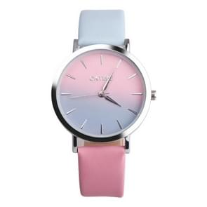 OKTIME WOK13402 2 PCS Retro Gradient Color Design Leather Belt Quartz Watch for Men / Women(blue on the silver shell)