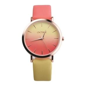 OKTIME WOK13402 2 PCS Retro Gradient Color Design Leather Belt Quartz Watch for Men / Women(the rose gold shell is red and yellow)
