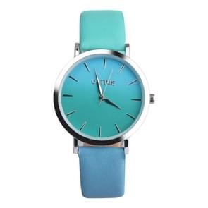 OKTIME WOK13402 2 PCS Retro Gradient Color Design Leather Belt Quartz Watch for Men / Women(green on the silver shell)