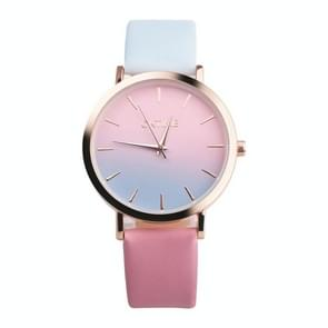 OKTIME WOK13402 2 PCS Retro Gradient Color Design Leather Belt Quartz Watch for Men / Women(the rose gold shell is blue under the powder)