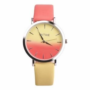 OKTIME WOK13402 2 PCS Retro Gradient Color Design Leather Belt Quartz Watch for Men / Women(yellow on the silver shell)