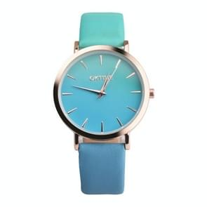 OKTIME WOK13402 2 PCS Retro Gradient Color Design Leather Belt Quartz Watch for Men / Women(the rose gold shell is green under the blue)