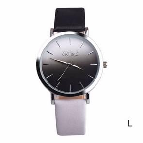 OKTIME WOK13402 2 PCS Retro Gradient Color Design Leather Belt Quartz Watch for Men / Women(black on the silver shell)
