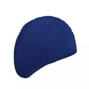 2 PCS Silicone Waterproof Swimming Caps Protect Ears Long Hair Sports Swimming Cap for Adults(Dark Blue)