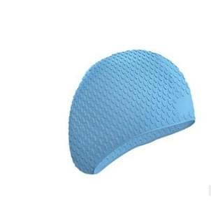 2 PCS Silicone Waterproof Swimming Caps Protect Ears Long Hair Sports Swimming Cap for Adults(Light Blue)