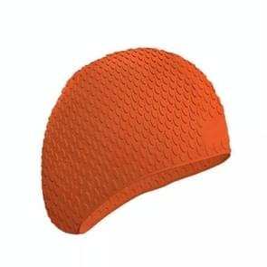 2 PCS Silicone Waterproof Swimming Caps Protect Ears Long Hair Sports Swimming Cap for Adults(Orange)